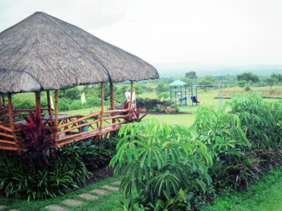 A photo of what a thatched-roof nipa hut looks like